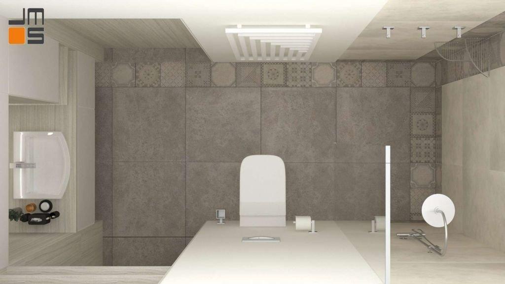 Projekt wąskiej łazienki z prysznicem typu walk- in w ciepłych odcieniach beżów z dekorem i ciekawym grzejnikiem.