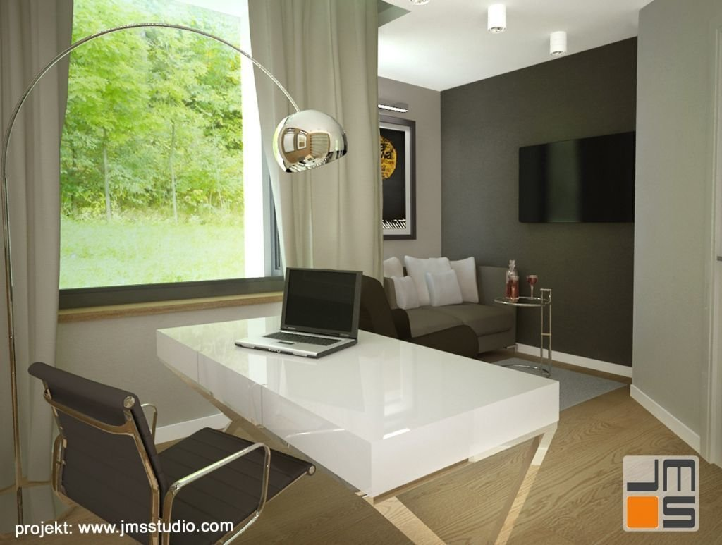 Zasłony w nowoczesnym gabinecie ocieplają wnętrze i powodują że strefa sypialna jest bardziej przytulna