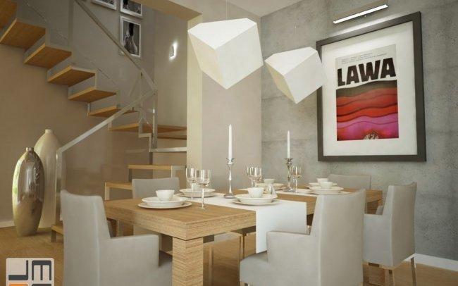 Projekt aranżacji wnętrz nowoczesnego salonu i jadalni w ciekawej kolorystyce w Nowym Targu koło Krakowa