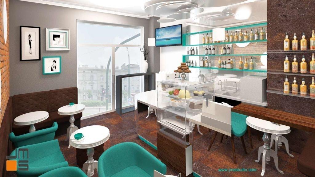 W projekcie kawiarni zastosowano turkusowe dodatki i elementy drewniane