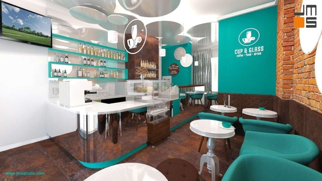 Okrągłe stylizowane stoliki i klasyczne pikowane tapicerowane oparcia w projekcie kawiarni w Krakowie