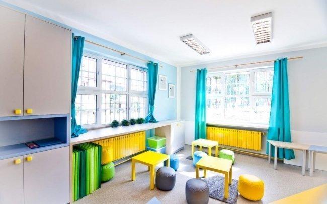 Projekt wnętrz sali dydaktycznej o funkcji świetlicy dla dzieci i uczniów w szkole podstawowej w Żegocinie