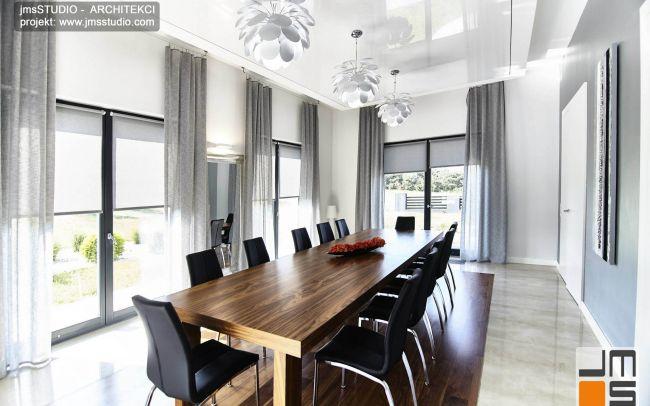 Ekskluzywny Projekt Wnętrz Salonu  Jadalni Kuchni i Holu z wieloma pomysłami na wnętrze w dużym domu pod Poznaniem