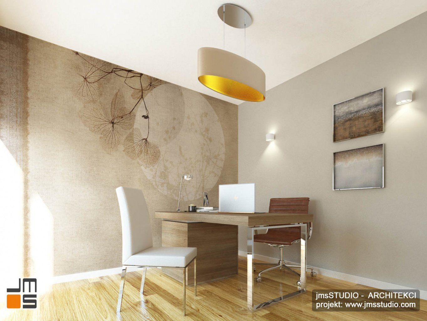 ekskluzywny projekt wnętrz eleganckiego mieszkania w Krakowie projekt gabinetu