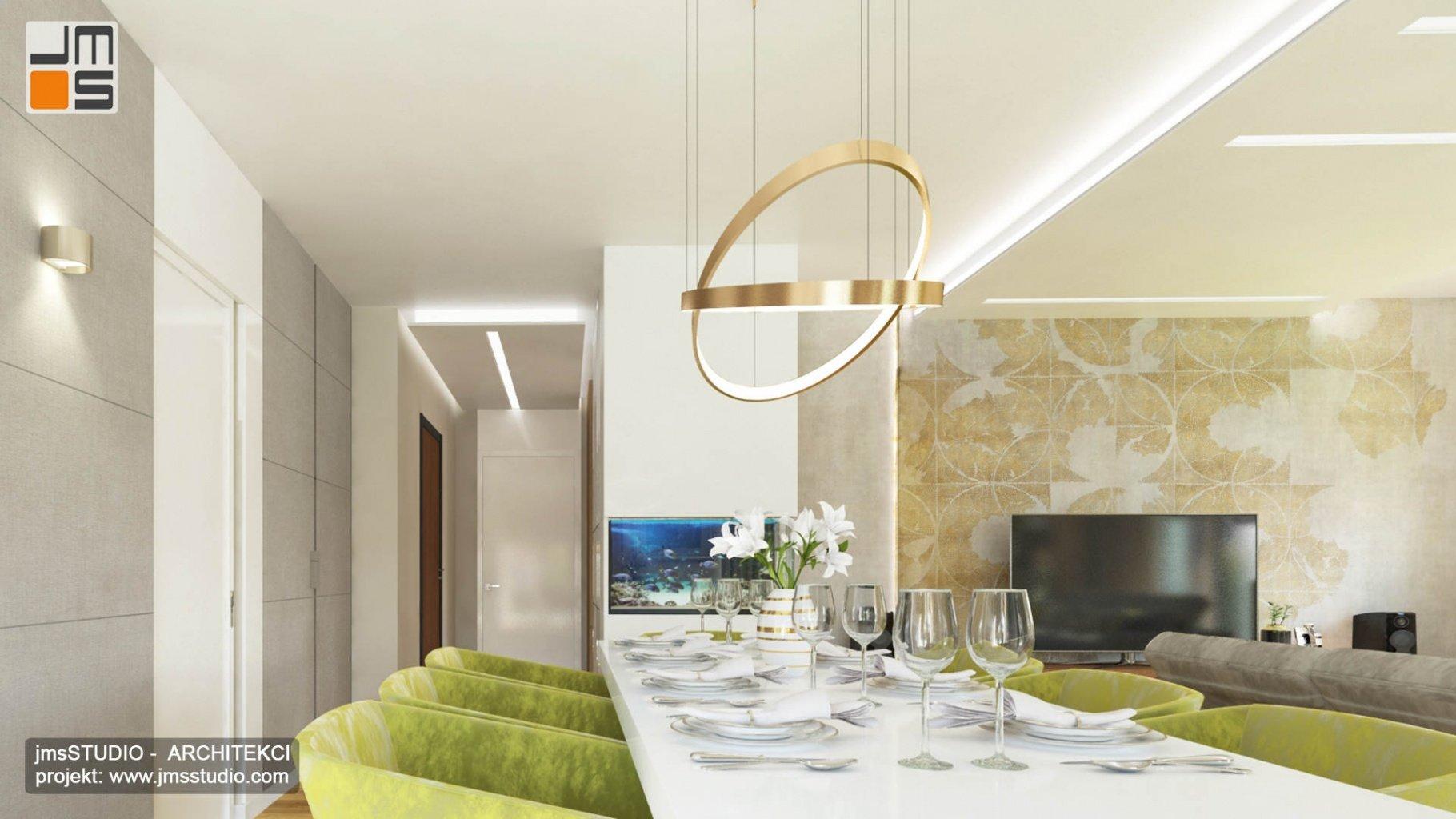 ekskluzywny projekt wnętrz eleganckiego mieszkania w Krakowie projekt jadalni z ciekawą lampą