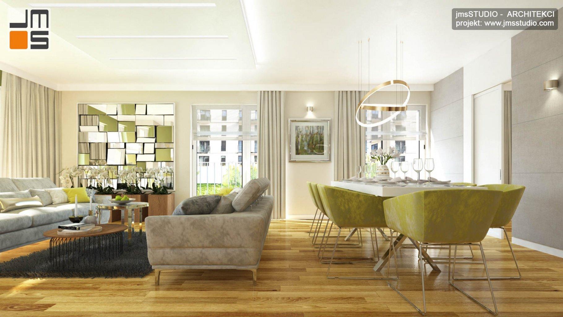 ekskluzywny projekt wnętrz eleganckiego mieszkania w Krakowie salon i jadalnia z pomysłem na dekoracyjna ścianę