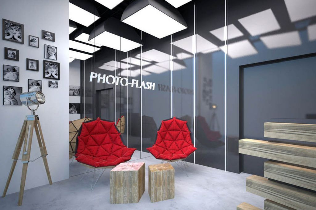 Projek wnętrza sali do obsługi klienta w Studiu Fotograficznym