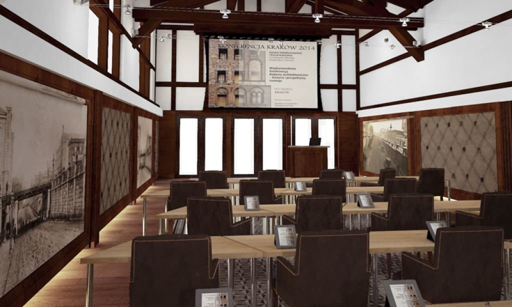 Aranżacja sali konferencyjnej w zabytkowym pomieszczeniu