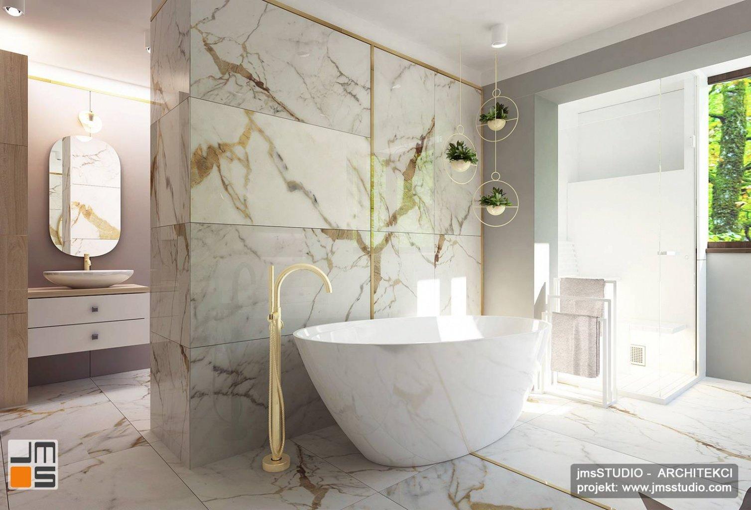 Projekt aranżacji wnętrz salonu oraz projekt wnętrz jadalni  i  projekt wnętrz luksusowej łazienki w Katowicach