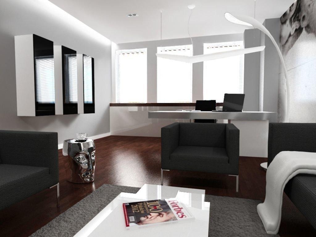 Aranżacja wnętrza biurowego w czerni i bieli