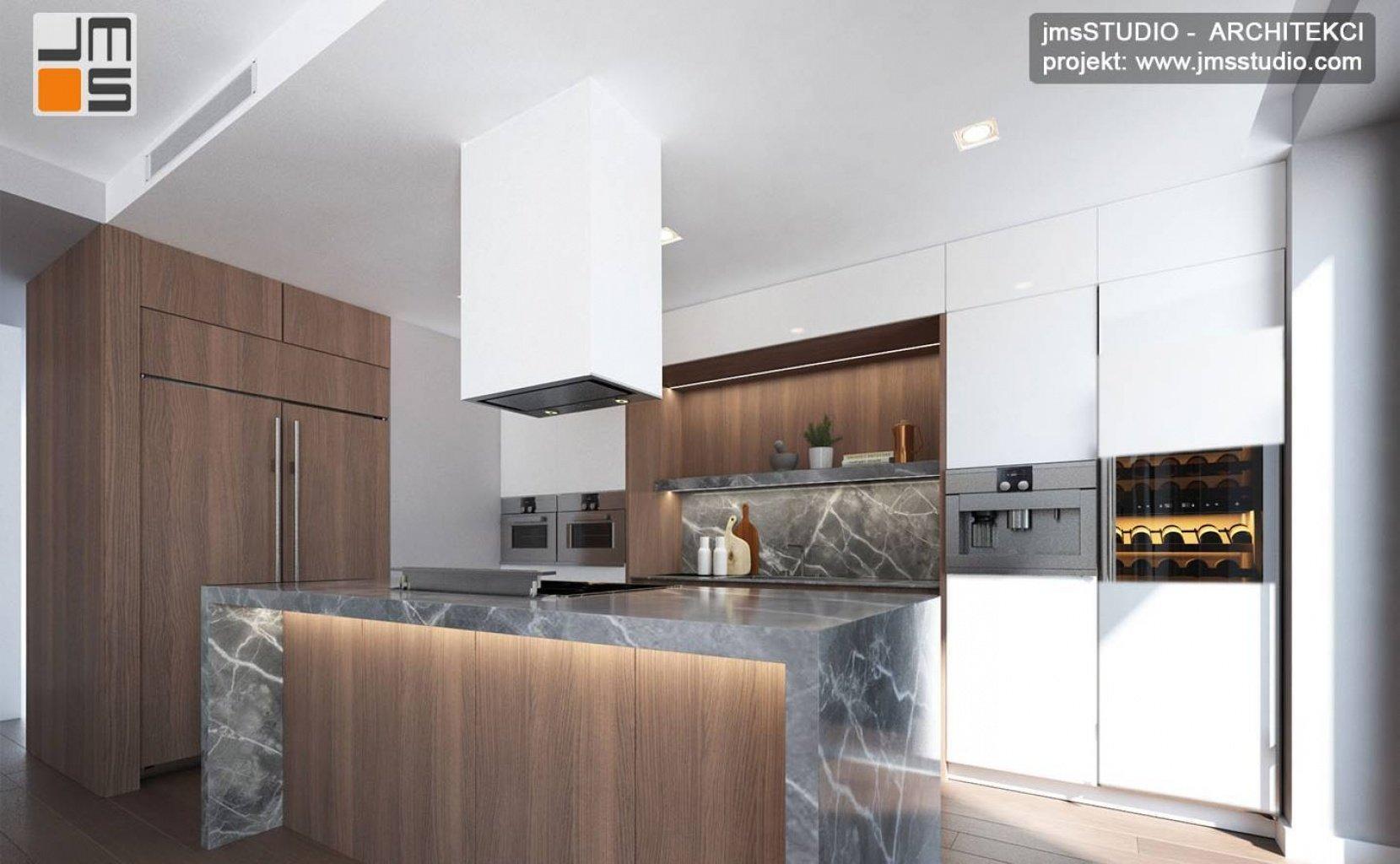Projekt wnętrz luksusowej kuchni z wyspą blatem kamiennym i AGD Gaggenau w projekt dużego mieszkania w Krakowie