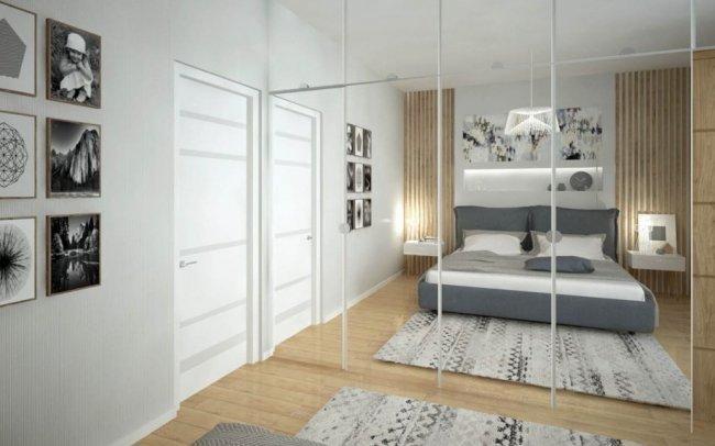Projekt wnętrza nowoczesnego mieszkania dla dwóch osób w drewnie i bieli