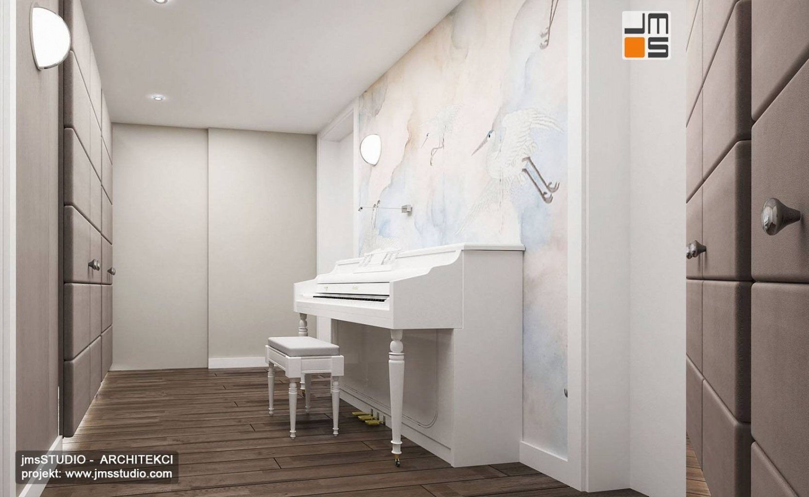 białe pianino w apartamencie to ciekawy projekt wnętrz nowoczesnych z grafika na ścianie w Krakowie