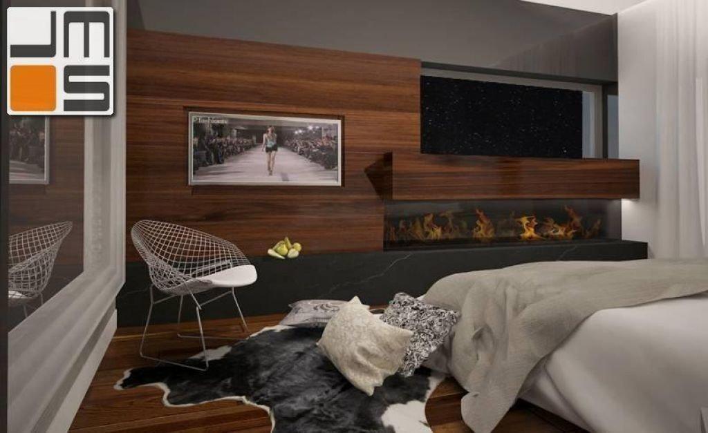 Projekt ekskluzywnej sypialni z biokominkiem