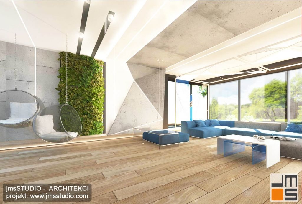 projekt aranżacji wnętrz olbrzymiego salonu w stylu bardzo nowoczesnym to ekskluzywny pomysł na wnętrze