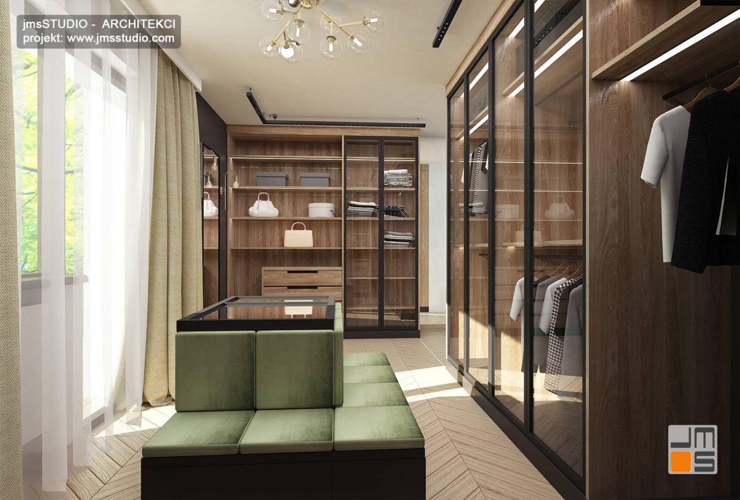 projekt wnętrz elegancka garderoba z szafami  wbudowanymi z przeszklonymi frontami Katowice