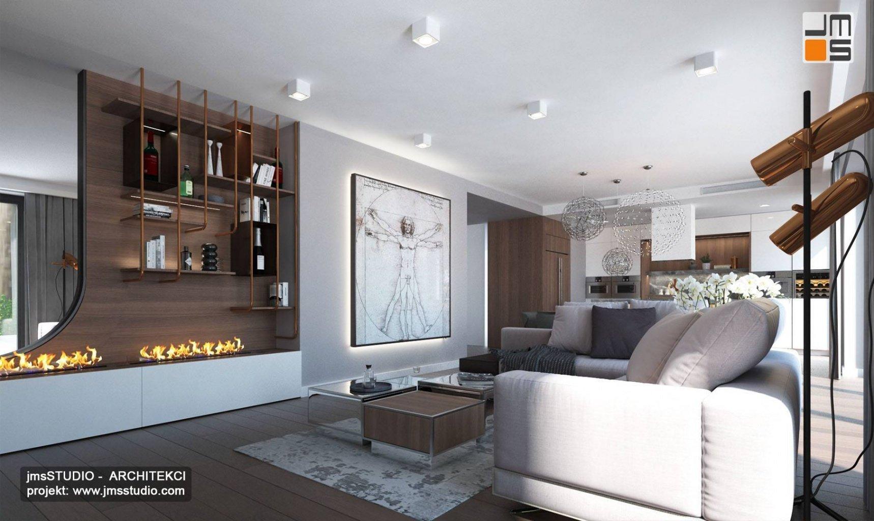 projekt aranżacji dużego salonu z sofą wypoczynkiem w kolorze jasno szarym to luksusowe wnętrze mieszkania w Krakowie
