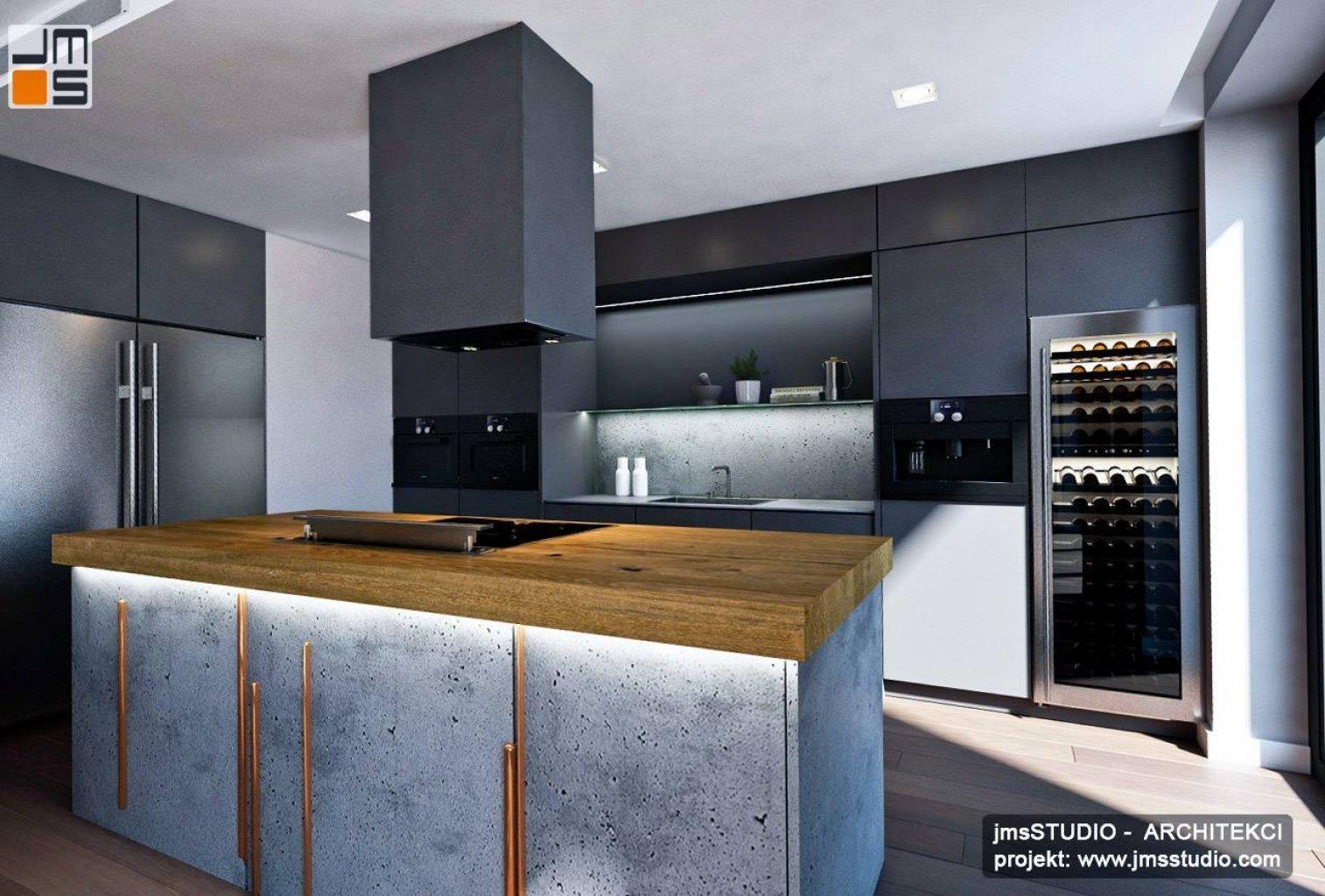 Projekt kuchni z dużą wyspą i okapem wiszącym to pomysł na luksusowy projekt prostego wnętrza z miedź beton drewno