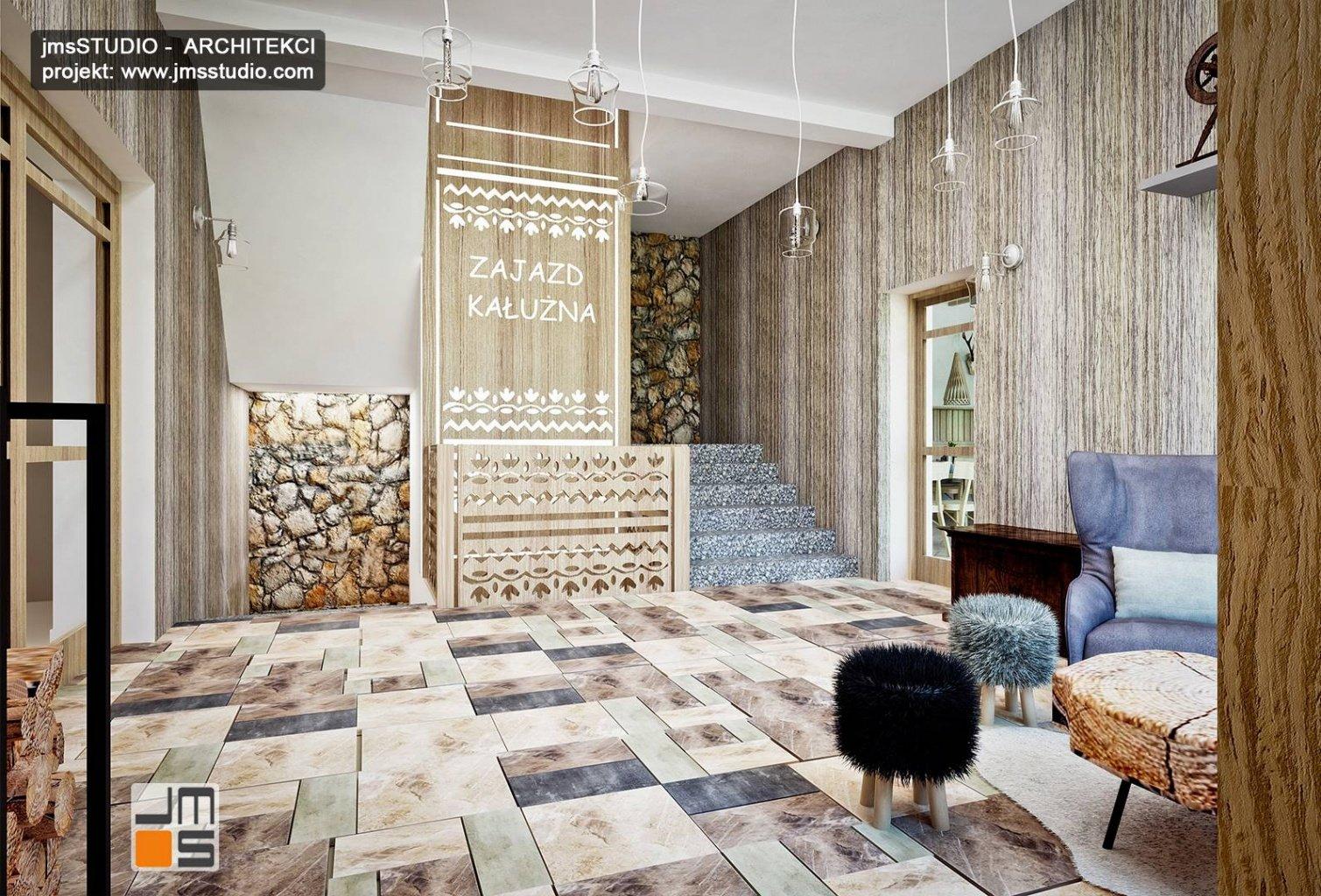 pomysł na logo z drewna w holu to projekt wnętrz restauracji regionalnej nowoczesnej w Pieninach