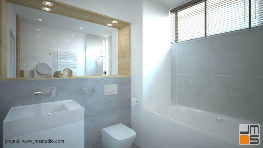 Projekt funkcjonalnej łazienki w jasnej kolorystyce.