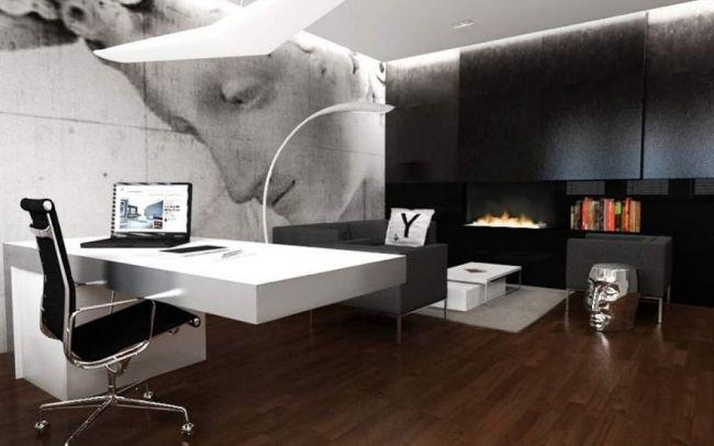 Projekt luksusowego biura w czerni i bieli