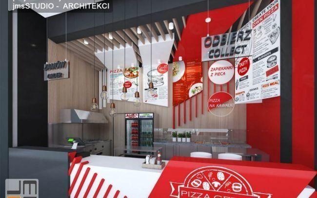 Projekt wnętrz pizzerii w galerii Serenada w Krakowie - ciekawy pomysł na nowoczesny projekt restauracji w Galerii Handlowej
