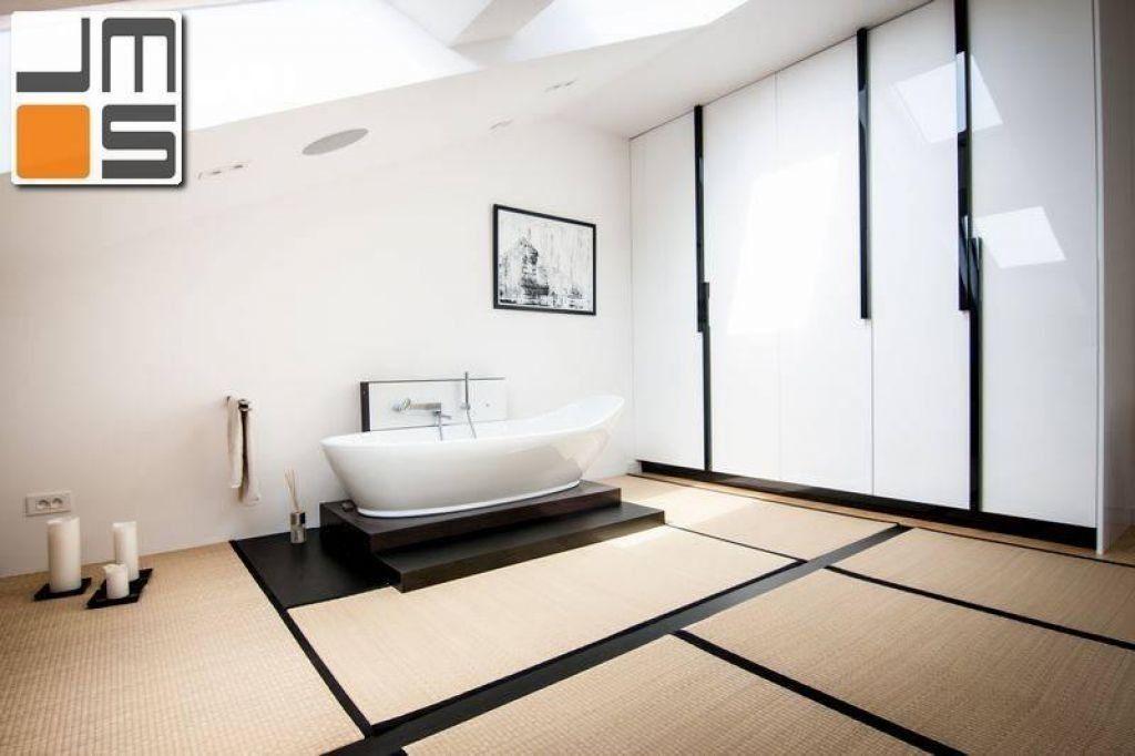 Aranżacja wnętrz salonu kąpielowego podłoga z mat bambusowych