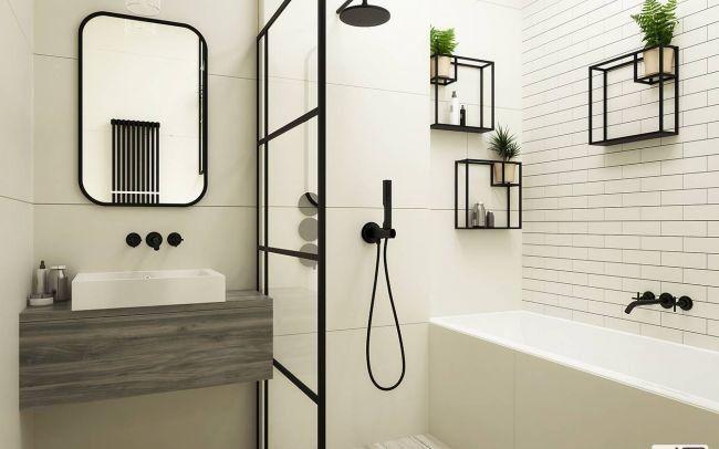Elegancki Projekt Wnętrz Małego Mieszkania w Krakowie z dekoracjami stalowymi w biało czarnych kolorach