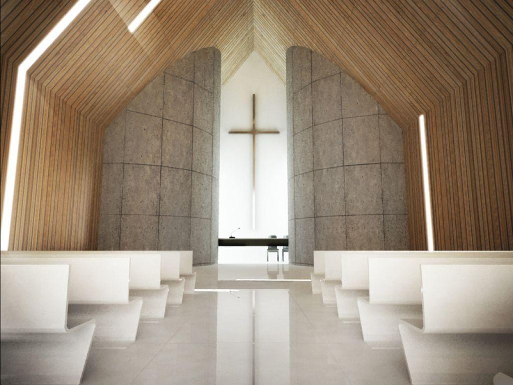 Projekt wnętrza nowoczesnego kościoła