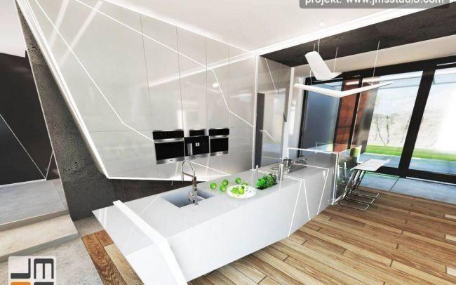 Ekskluzywny projekt wnętrz nowoczesnych w dużym domu - rezydencji z bardzo oryginalnym designerskim pomysłem na luksusową aranżacje wnętrz