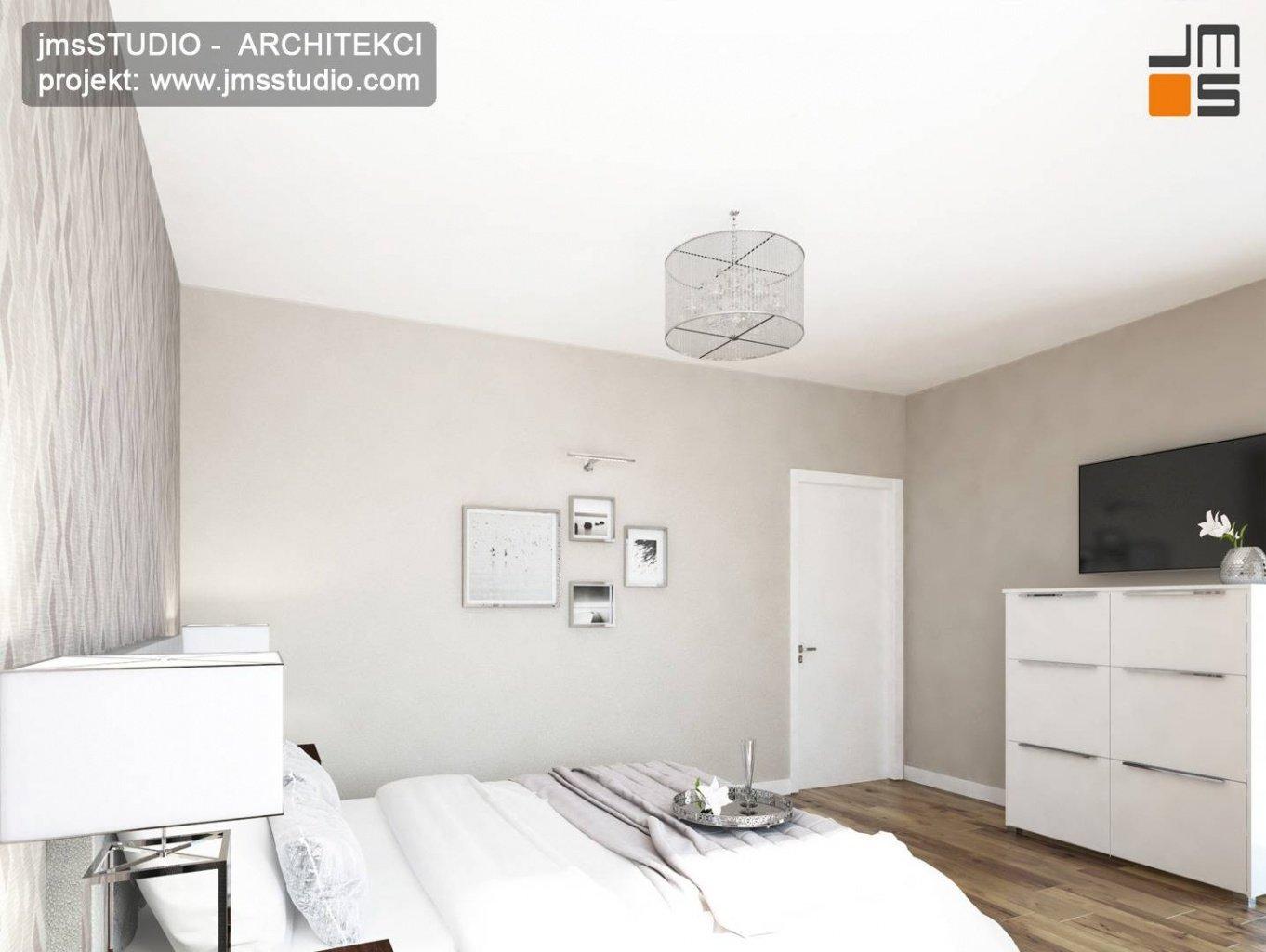 projektowanie wnętrz kraków prosta biała sypialnia
